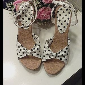 Top Moda white with black Polka dots heel sandals